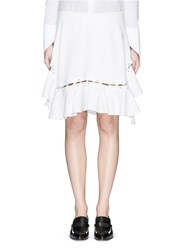 Chloe Lace Up Ruffle Hem Crepe Skirt White