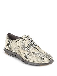 Cole Haan Wingtip Toe Python Embossed Oxfords Natural