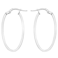 Ibb 9Ct White Gold Oval Creole Earrings White