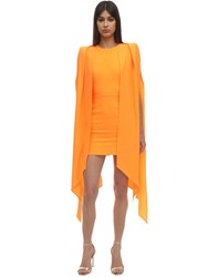 Alex Perry Envers Satin Crepe Mini Dress W Cape Orange