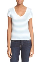 Women's Frame 'Le Button' Stripe V Neck Tee Placid Blue Stripe