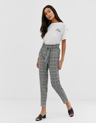 Qed London Paperbag Waist Peg Trousers In Houndstooth With Neon Yellow Check Multi