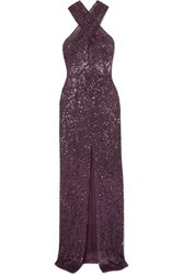 Naeem Khan Cutout Sequined Tulle Gown Purple
