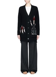 Valentino 'Love Blade' Embroidered Oversized Cardigan Black