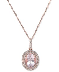 Macy's Morganite 1 1 2 Ct. T.W. And Diamond 1 5 Ct. T.W. Oval Pendant Necklace In 14K Rose Gold Pink