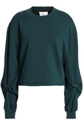 3.1 Phillip Lim Barbell Embellished French Cotton Terry Sweatshirt Petrol
