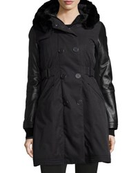 Nobis Ajin Brushed Twill Fur Trim Swing Coat Black
