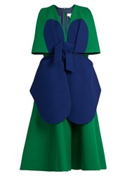 Delpozo Bi Colour Structured Cotton Dress Green Multi
