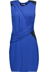 Bailey 44 Faux Leather Trimmed Stretch Jersey Mini Dress Royal Blue