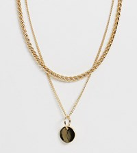 Monki Double Chain Necklace With Pendant In Gold