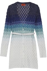 Missoni Belted Metallic Crochet Knit Cardigan Multi