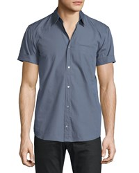 Cnc Costume National Short Sleeve Button Front Shirt Gray Grey