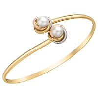 Ibb 9Ct Three Colour Gold Double Knot And Pearl Flexible Torque Bangle Multi