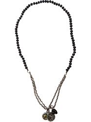 M. Cohen Agate Skull Charm Necklace Black