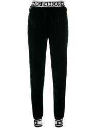 Dolce And Gabbana Piped Logo Track Pants Black