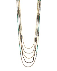 Nakamol Long Multi Strand Agate And Crystal Necklace Green Gold