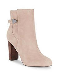 Saks Fifth Avenue Ankle Length Stack Heel Boots Stucco