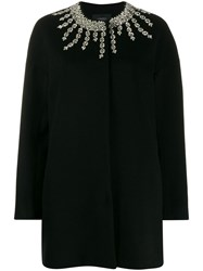 Giambattista Valli Oversized Crystal Embellished Coat Black