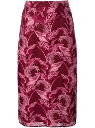 House Of Holland Lace Midi Skirt Red