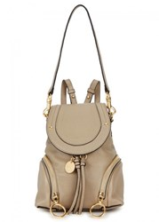 See By Chloe Olga Small Taupe Leather Backpack Light Grey
