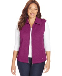 Karen Scott Plus Size Quilted Zip Front Vest Bright Azalea