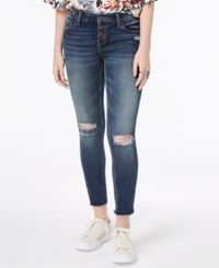 Vanilla Star Juniors' Ripped Button Fly Skinny Jeans Med Wash