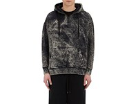 Robert Geller Men's Bleach Effect Cotton Terry Hoodie Black