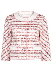 Boutique Moschino Cropped Lace Trimmed Tweed Jacket White