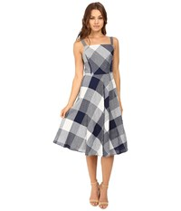 Christin Michaels Amie Seersucker Gingham Fit And Flare Dress Navy White Women's Dress Blue