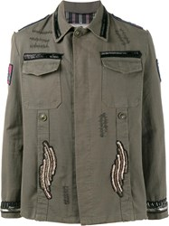 Etro Beaded Patch Embellished Army Jacket Green