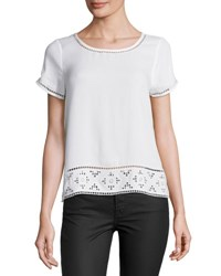 Joie Kadence Lace Trim Short Sleeve Top White