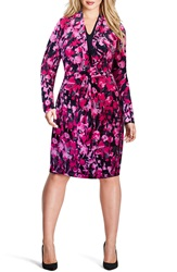 Mynt 1792 Print Shirred Faux Wrap Dress Plus Size Floral Print