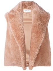 Helmut Lang Shearling Vest Pink And Purple