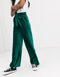 Moon River Velvet Cord Tie Waist Wide Leg Trousers Green