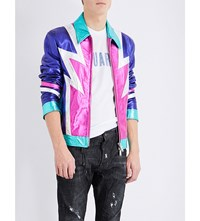 Dsquared2 Glam Rock Metallic Leather Jacket Mix Colour
