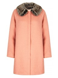Yumi Faux Fur Collared Cocoon Coat Coral