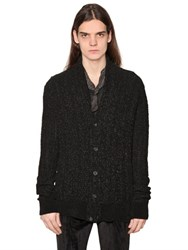 John Varvatos Coated Wool Blend Herringbone Cardigan
