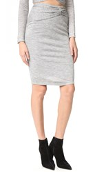 Kendall Kylie Knotted Pencil Skirt Light Heather Grey