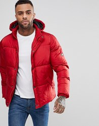 Puffa Padded Hooded Coat Red