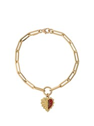 Foundrae 18Kt Yellow Gold Heart Token Bracelet 60