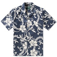 Gitman Brothers Vintage Short Sleeve Floral Bowling Shirt Blue