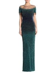 Pamella Roland Embellished Ombre Gown Emerald Navy