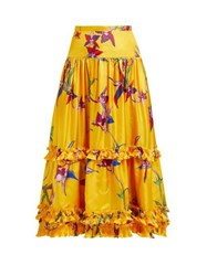 La Doublej Salsa Orchidea Giallo High Rise Silk Midi Skirt Yellow Print