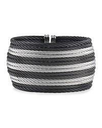 Alor Two Tone Wide Cable Cuff Black Gray