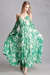 Forever 21 Aryn K Foliage Print Maxi Dress White Green