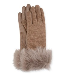 Ugg Knit And Leather Gloves W Fur Cuffs Stormy Gray