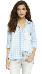 Bella Dahl Asymmetrical Button Down Shirt Small Gingham