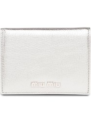 Miu Miu Logo Plaque Billfold Wallet Metallic