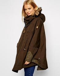 Fjall Raven Fjallraven Waxed Cape Coat With Fur Trim Hood Green