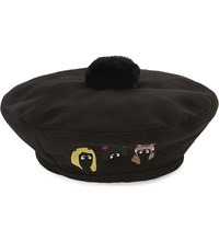 Mini Cream Cartoon Pompom Beret Black